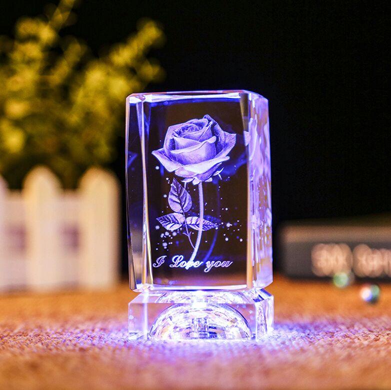 颜值炸裂的3d麋鹿水晶摆件,吸睛指数五颗星!