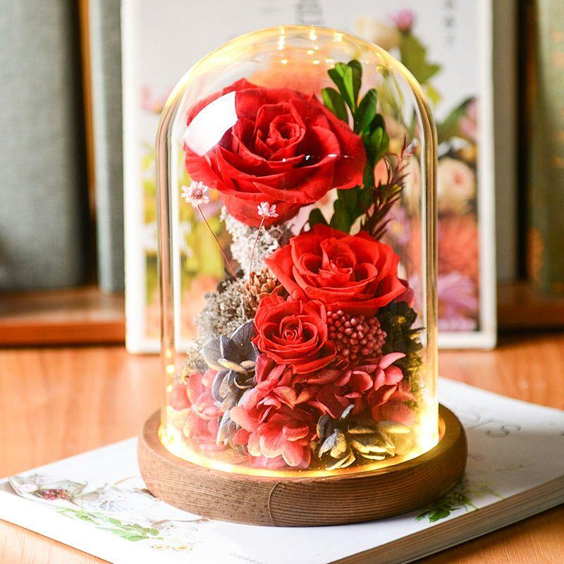 浪漫永生花玻璃罩,满足ta的少女心