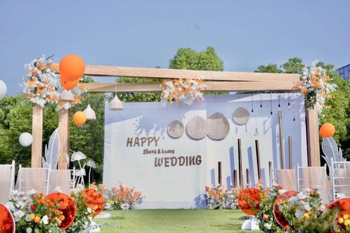 户外橙色系小清新仪式感婚礼超低预算💟