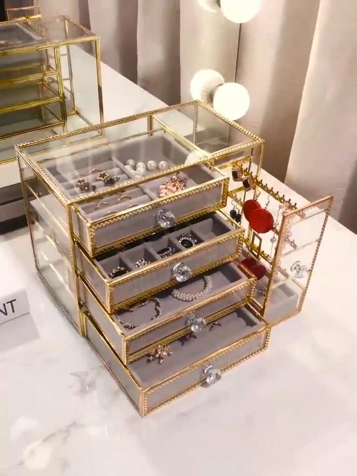 送女盆友的高颜值生日礼物,金边玻璃珠宝首饰盒