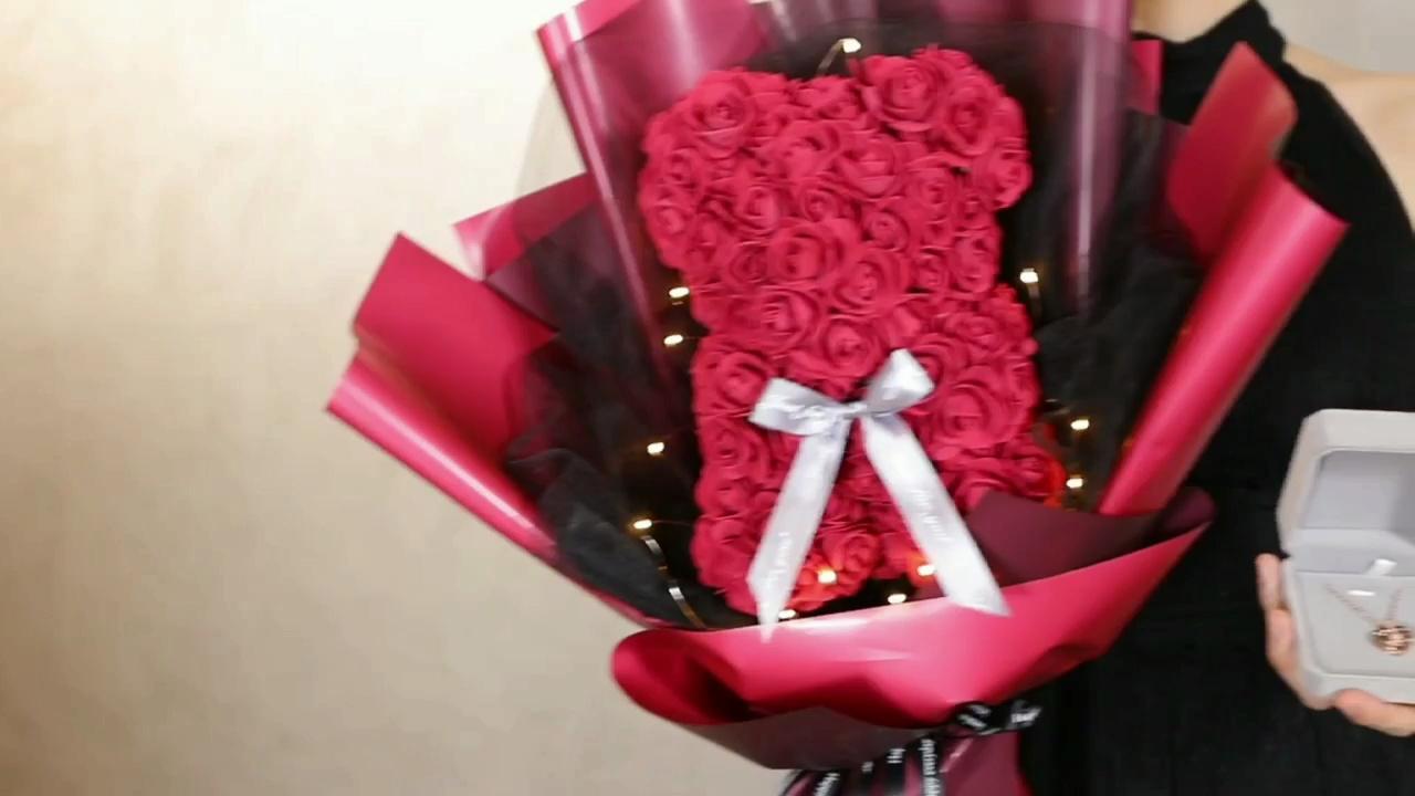 永生花玫瑰小熊花束,一周年纪念日男票送我的浪漫好物